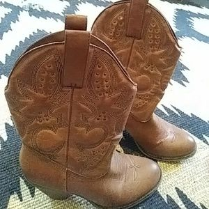 Cognac Faux Leather Cowgirl Booties